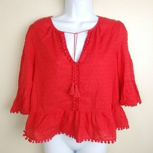Madewell Red Cold Shoulder Top Tassels Size S